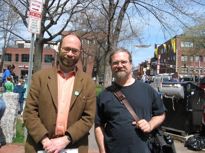 City Councilor Sam Seidel (left) with Green Streets Graphic Designer, Colin Barr